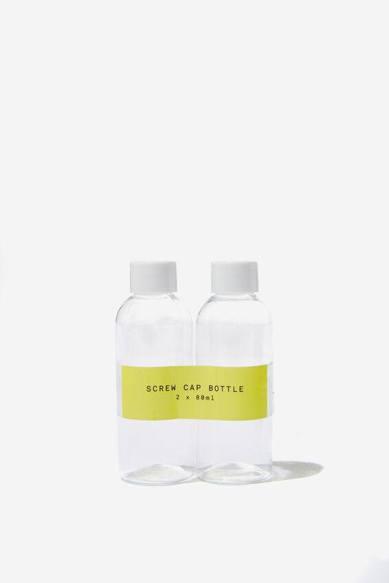 Screw Cap Bottle 2Pk, CLEAR/80ML