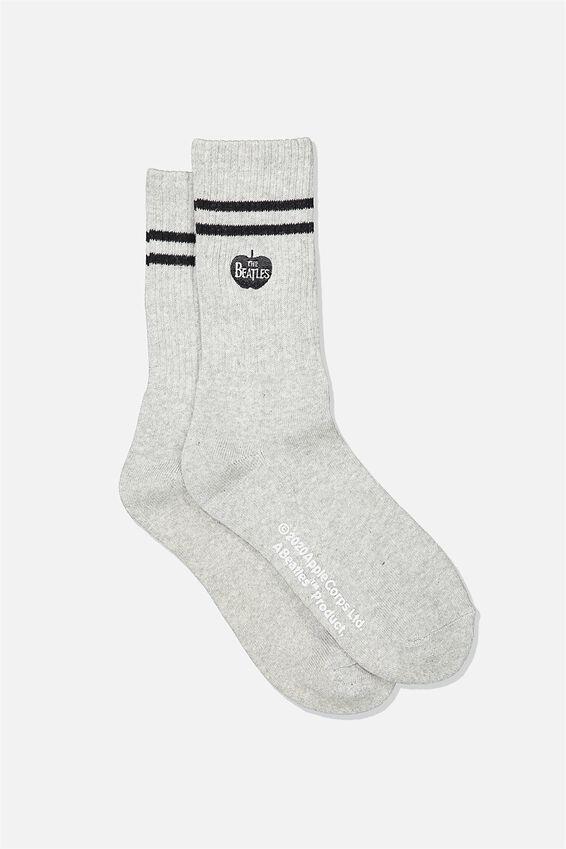 Single Pack Active Socks, LCN APP GREY MARLE BLACK THE BEATLES