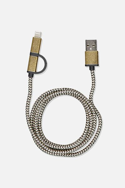 2 In 1 Charge/Sync Cable, GOLD/BLACK/ZEBRA
