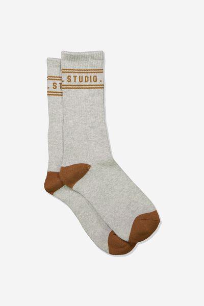 Single Pack Active Socks, GREY MARLE/CAMEL WEEKEND STUDIO