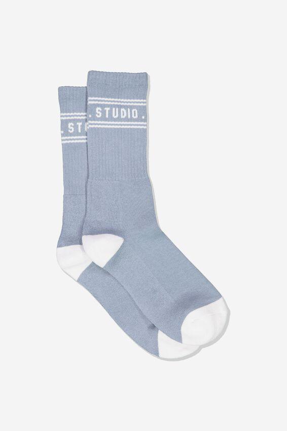 Single Pack Active Socks, STEEL BLUE/WHITE WEEKEND STUDIO