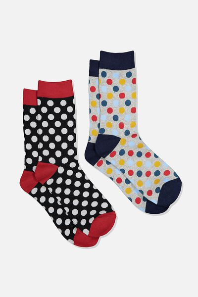 Dress Socks 2 Pack, POLKA DOTS/BLACK/RED/GREY MARLE/BLUE