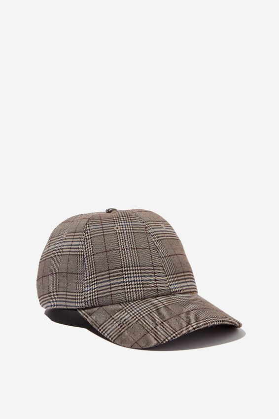 Strap Back Dad Hat, BROWN PLAID