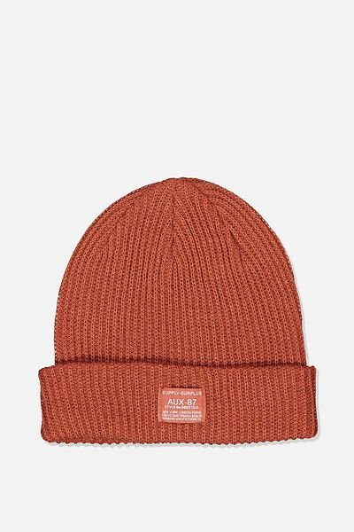Basic Ribbed Beanie, BURNT ORANGE/SUPPLY SURPLUS