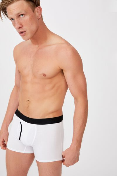 Mens Organic Cotton Trunks, WHITE/BLACK