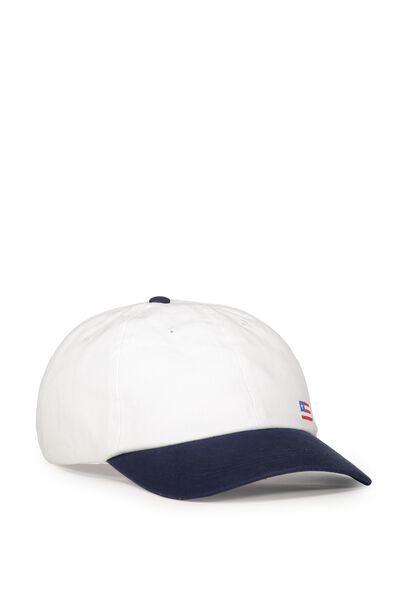 Strap Back Dad Hat, FLAG/WHITE DENIM