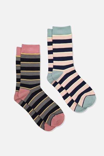 Dress Socks 2 Pack, STRIPE/NAVY/DUSTY PINK/GREEN