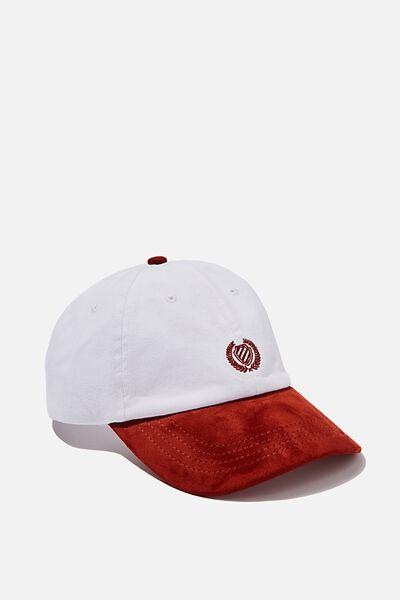 Strap Back Dad Hat, WHITE/BURNT RED/CREST