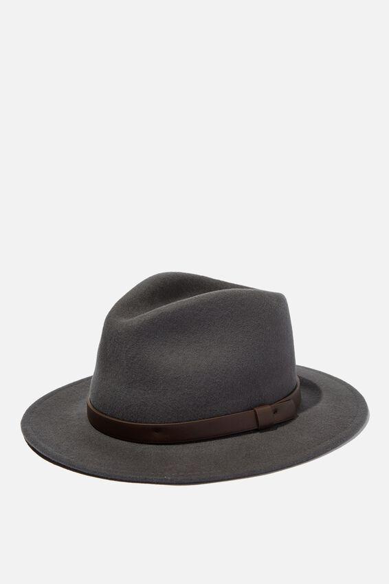 Wide Brim Felt Hat, CHARCOAL/BROWN