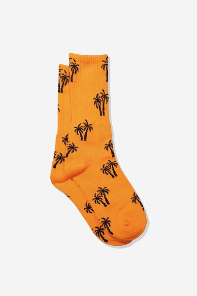 Single Pack Active Socks, VIBRANT ORANGE/BLACK PALM TOP
