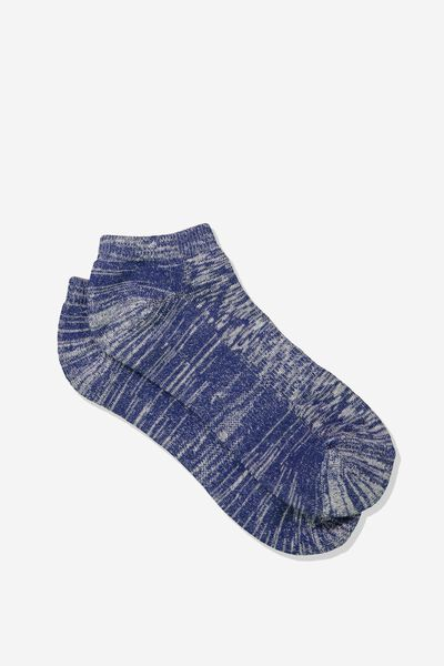 Mens Ankle Sock, NAVY/OFF WHITE MELANGE