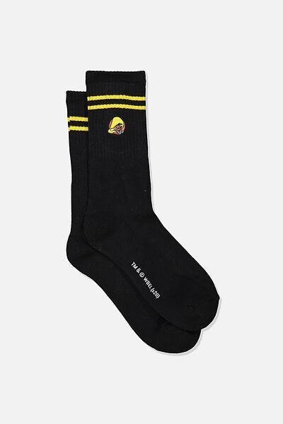 Single Pack Active Socks, LCN WB BLACK/YELLOW SPEEDY GONZALES