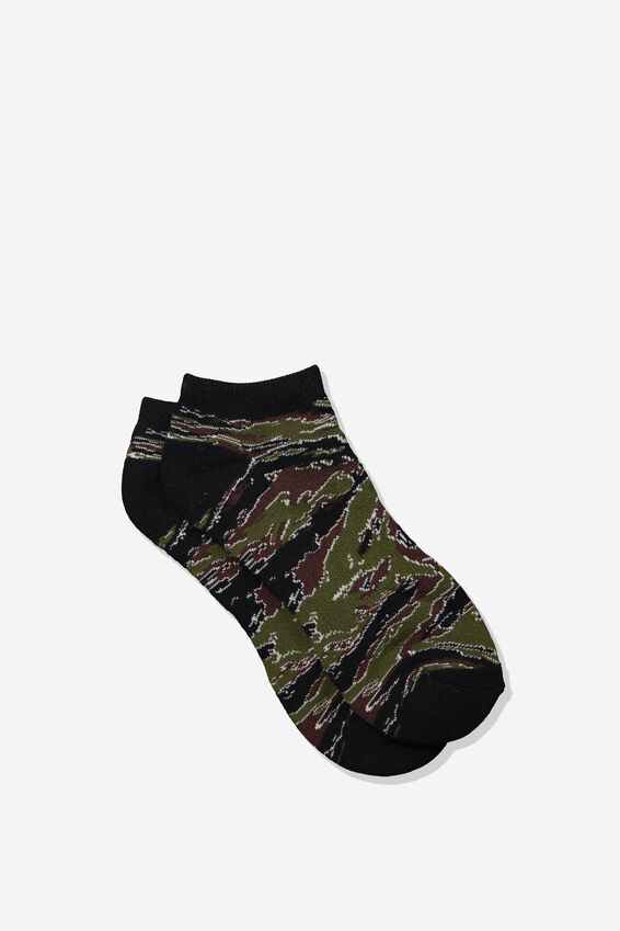 Mens Ankle Sock, TIGER CAMO