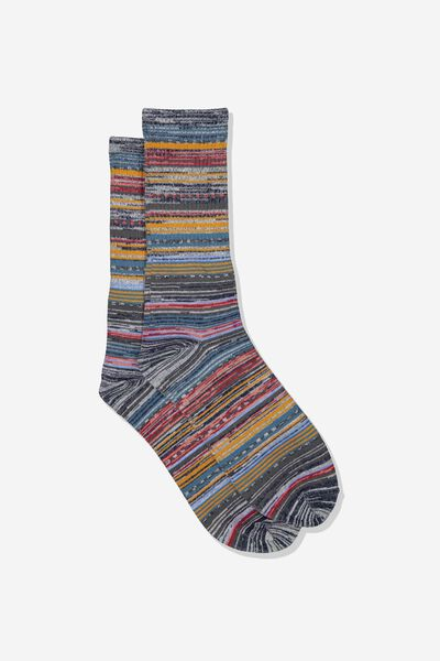 Single Pack Active Socks, NAVY MELANGE/MULTI STRIPE