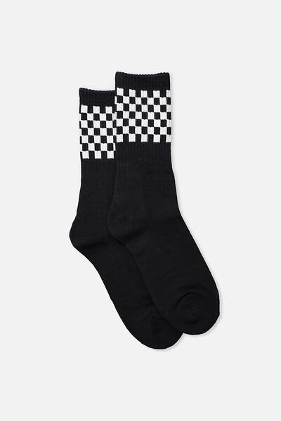 Single Pack Active Socks, BLACK/CHECKED STRIPE