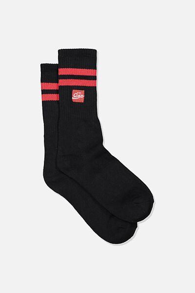 Single Pack Active Socks, LC COK BLACK/RED STRIPE COKE