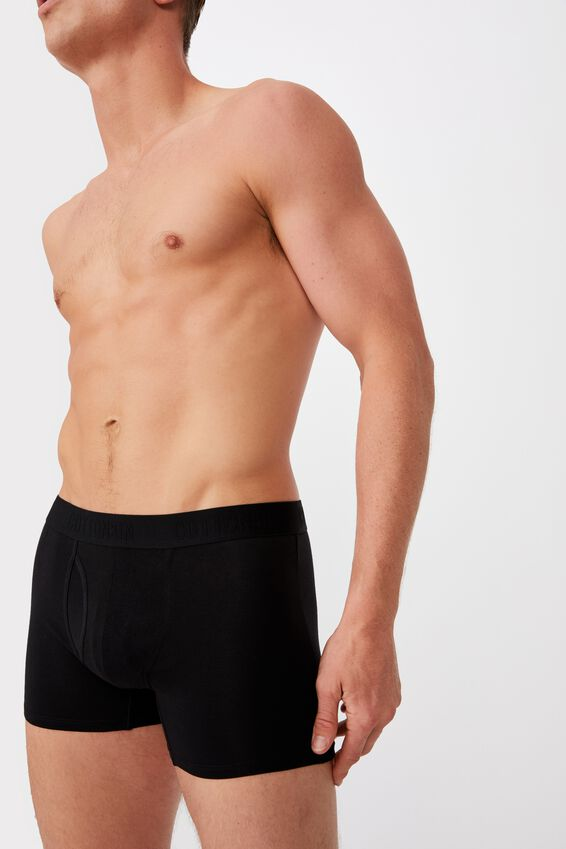 Mens Organic Cotton Trunks, BLACK/BLACK