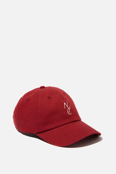 Strap Back Dad Hat, WASHED MAROON/NYC LINK