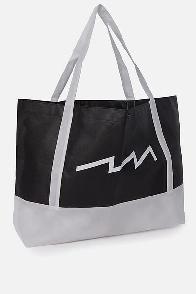 Planet Factorie O/S Shopping Bag, BLACK AND WHITE