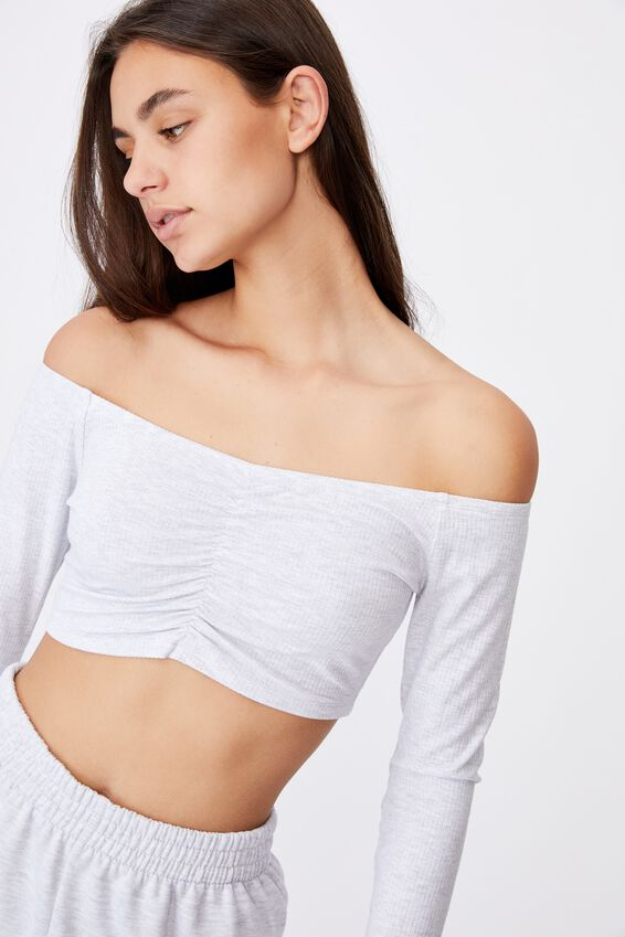 Long Sleeve Ruched Front Off Shoulder Top, SILVER MARLE