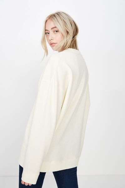 Oversized Crew Neck Sweater, WINTER WHITE