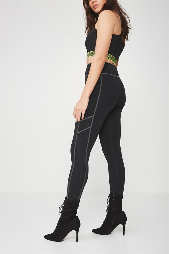 Colour Stitch Panelled Legging, BLACK_REFLECTOR STITCH