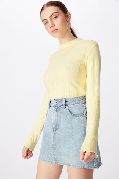 Ls Pointelle Lettuce Edge Funnel Neck, PASTEL YELLOW