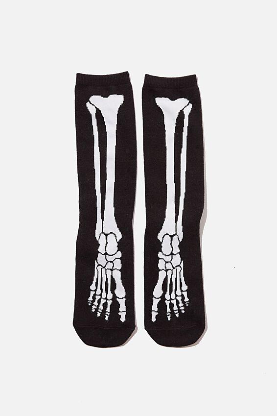 Jersey Sock, SKELETON FOOT GLOW IN DARK