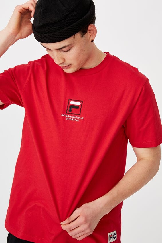 Fila Lcn Regular Embroidered T Shirt, RED/SPORT