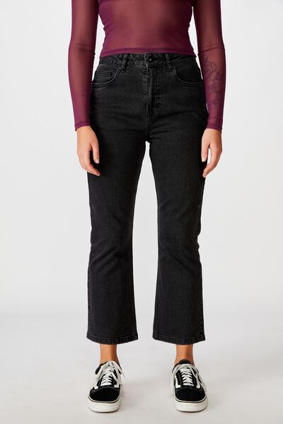Cropped Flare Jean, THRIFT BLACK