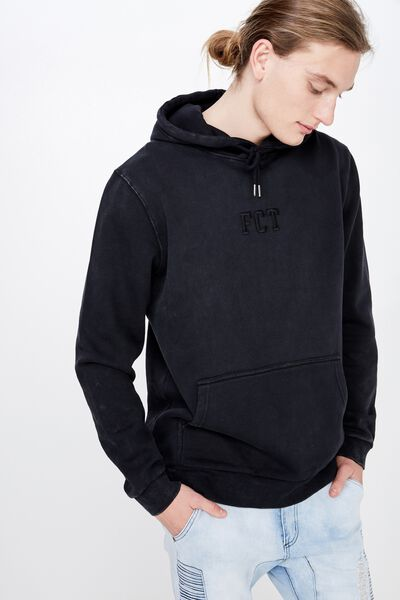 Embroidered Fct Hoodie, WASHED BLACK