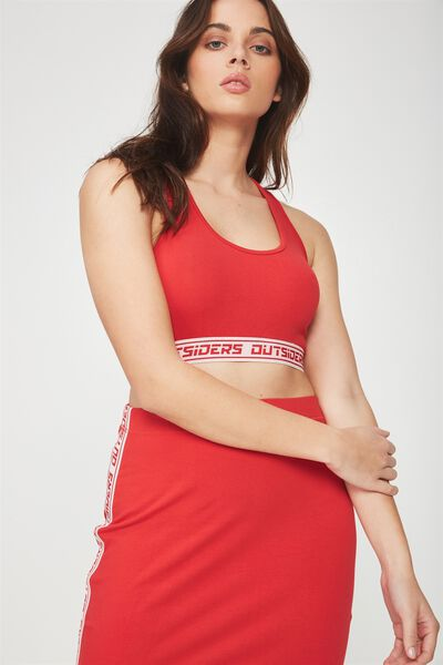Co-Ord Elastic Crop Tank, LYCHEE _WHITE TAPE