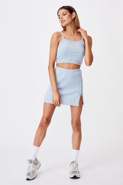 Rib Side Split Skirt, SKYWAY BLUE/ENDLESS FUTURE