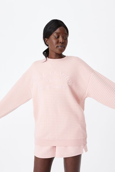 Waffle Oversized Graphic Crew, SILVER PINK/ATHL. LEAGUE