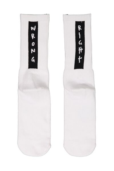 Retro Ribbed Socks, WRONG RIGHT_BLK/WHITE