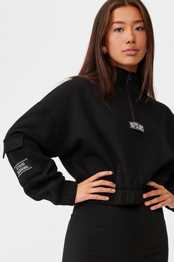 Qtr Zip Elastic Hem Fleece Top, BLACK/CITIES