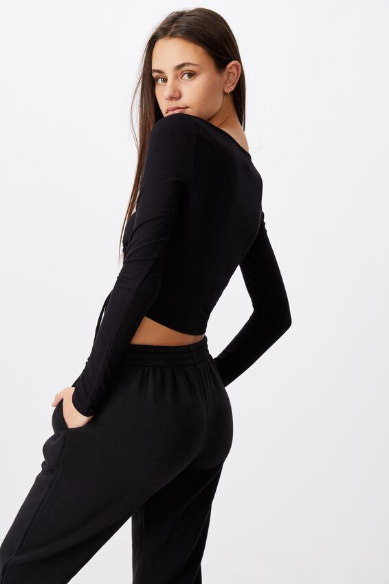 Long Sleeve Ruched Front Top, BLACK