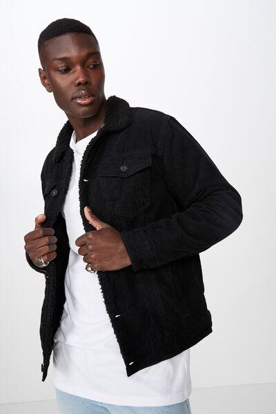 Cord Sherpa Jacket, BLACK