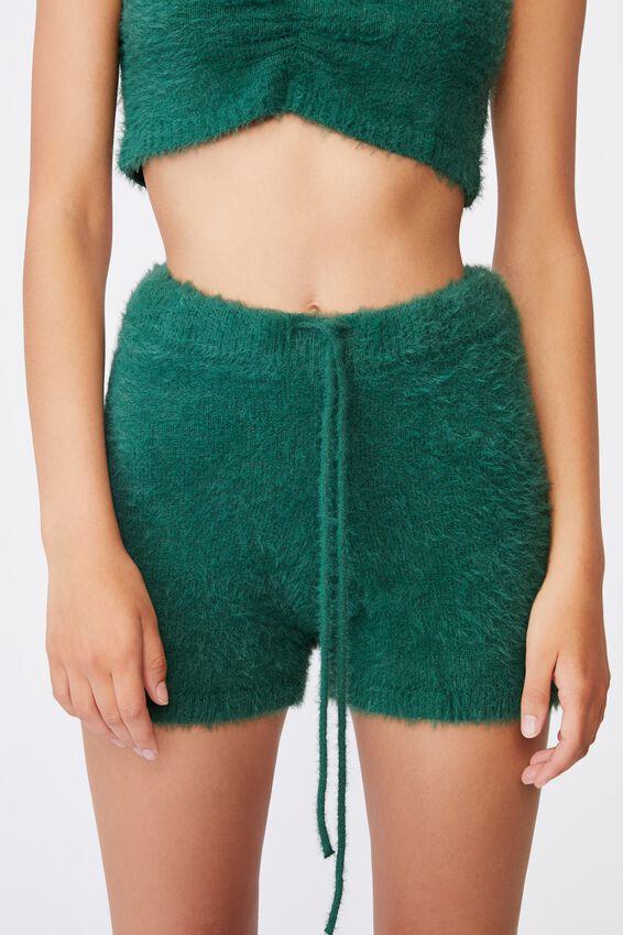 Fluffy Knit Short, HUNTER GREEN