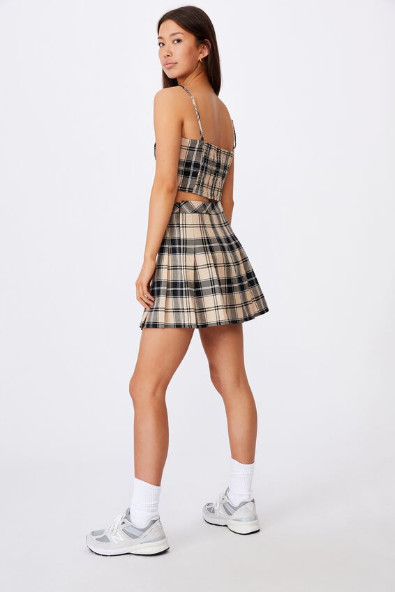 Pleated Skirt, CLAUDIA NEUTRAL CHECK