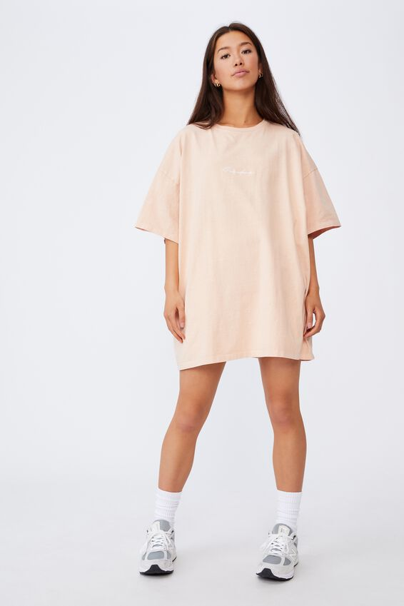 Graphic T Shirt Dress, RUGBY TAN/PASADENA