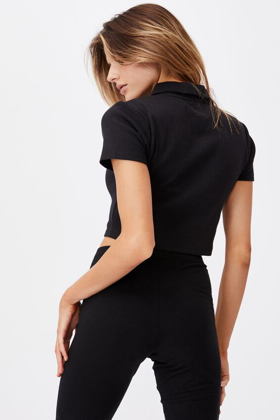 Short Sleeve Button Thru Collar Tee, BLACK