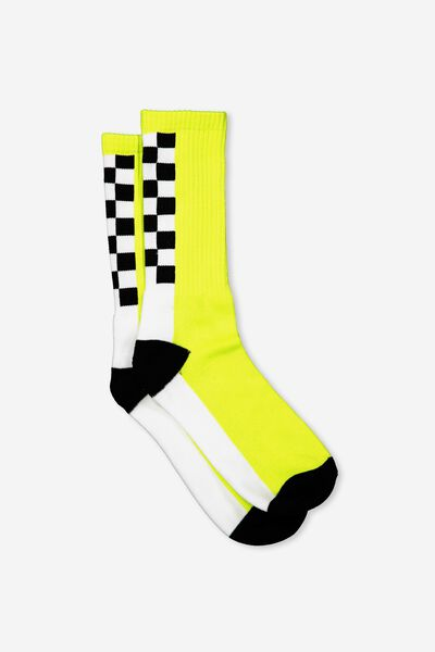 Retro Ribbed Socks, SPINE CHECK_LIME