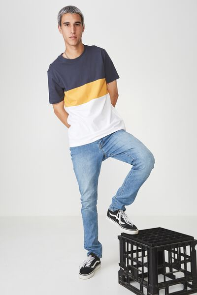 Slim Panelled T Shirt, NAVY/YELLOW/WHITE