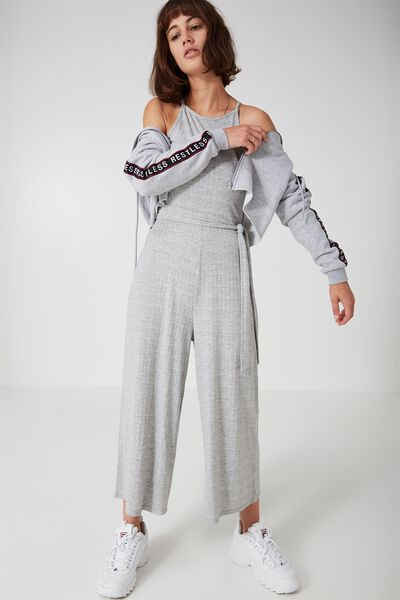 Ribbed Culotte Jumpsuit, GREY MARLE
