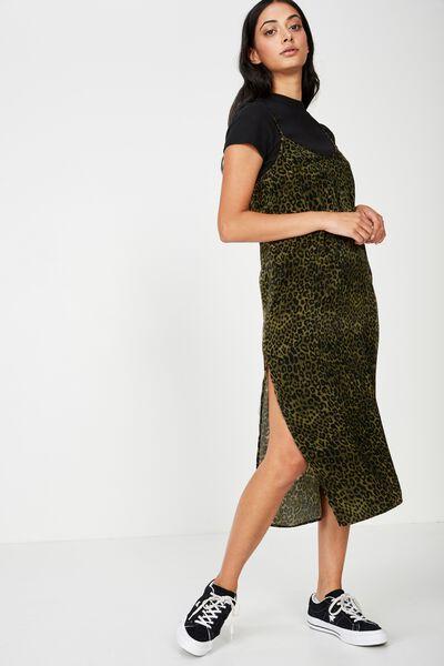 Satin Midi Dress, KHAKI ANIMAL