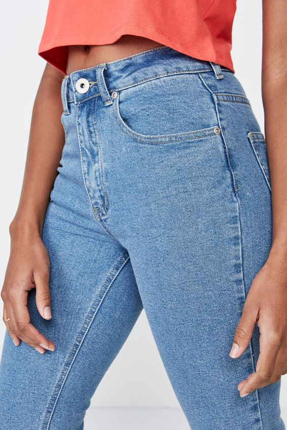 High Rise Straight Leg Jean, 90's BLUE