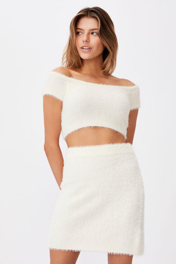 Knit Mini Skirt, IVORY