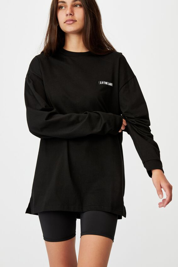 Super Oversized Ls Graphic Tee, BLACK/2.0 THE LABEL