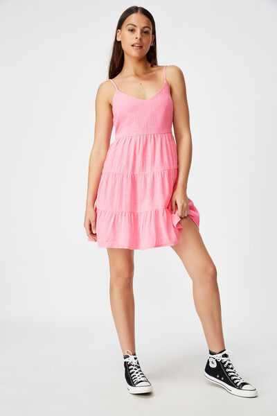 Textured Tiered Dress, WASHED BRIGHT PINK